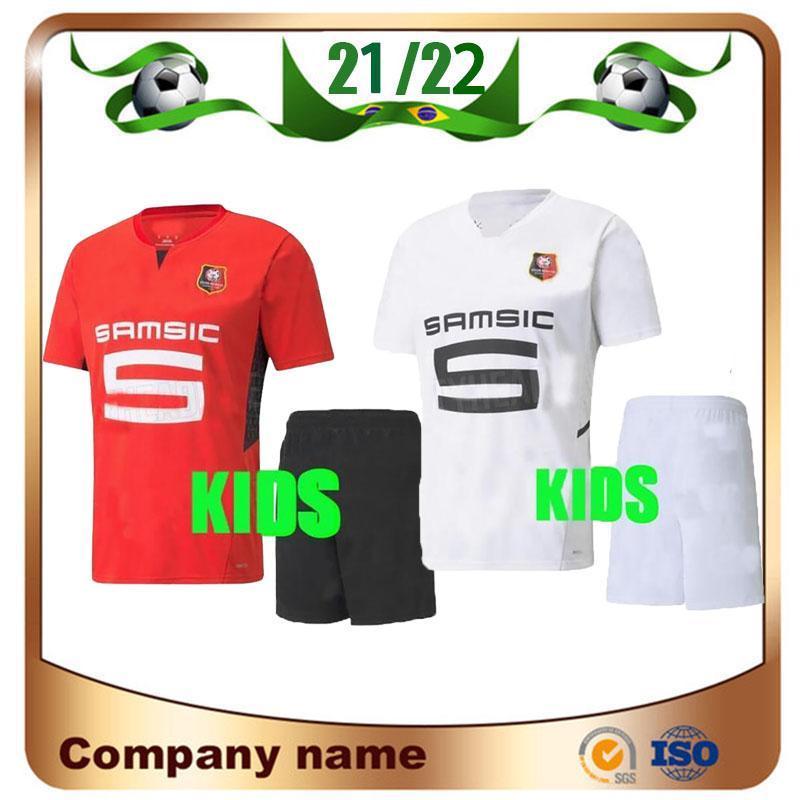21/22 Stade Rennais FC Kids Kit Futebol Jerseys 2021 Camavinga Terrier Niang Maillots de pé Camiseta Bourigeud Nzonzi Guiraassy Doku Crianças Futebol Uniformes