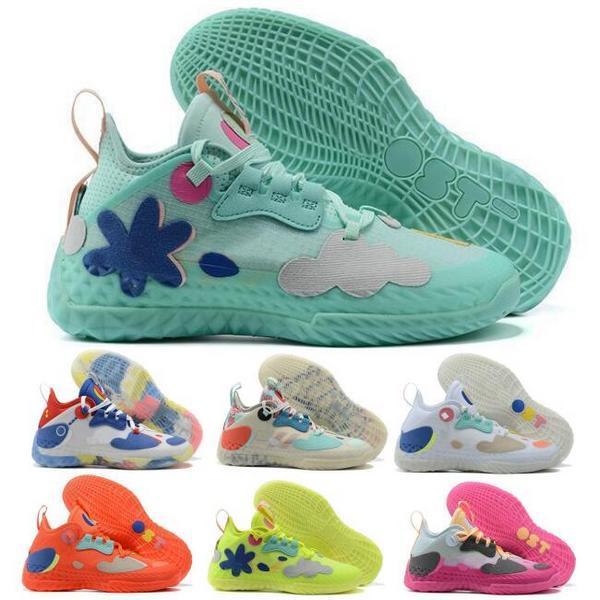 جيمس هاردن vol.5 الرجال أحذية كرة السلة أحذية رياضية صفراء صفراء شبكات حمراء دعم ايسي الوردي فوتوريناتور أزرق 2021 MVP الرياضة النسيج المدرب zapatos