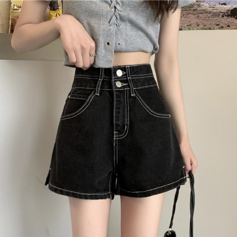 Primavera y otoño chic hong kong estilo negro jeans femenino 2021 nuevo cintura alta pantalones de pierna ancha espectáculo fino y versátil corto