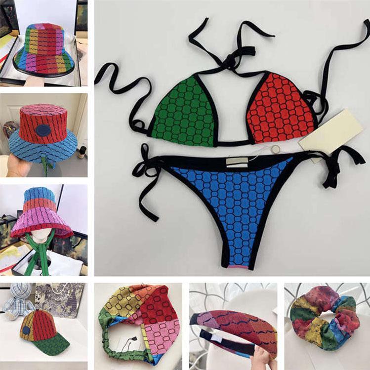 المصممون المرأة ملابس السباحة مثير البيكينيات مجموعة النسيج قوس قزح إلكتروني طباعة السيدات ملابس السباحة بدلة الصيف