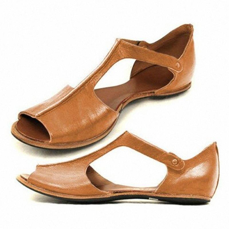 Mujeres de verano Sandalias de punta abierta Gladiador T Correa Casual Beach Ladies Zapatos Romanos PU Sandalias de cuero Gran tamaño Zapatos Mujer Cómodo Zapatos Disco O8GF #