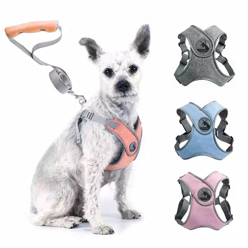 Reflective Dog Harness And Leash Set Pet Puppies Cat Vest Harness Dog Soft Breathable Mesh Chest Strap for Small Medium Dogs