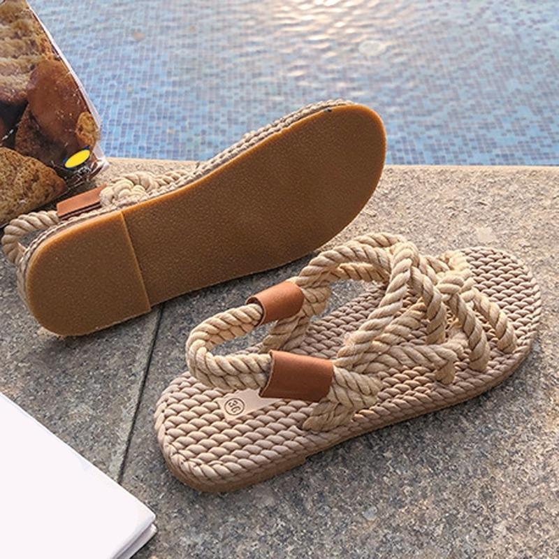 الصنادل الصيف المرأة أحذية مضفر حبل مع نمط عارضة التقليدية بسيطة الإبداع أزياء المرأة zapatos دي موهير