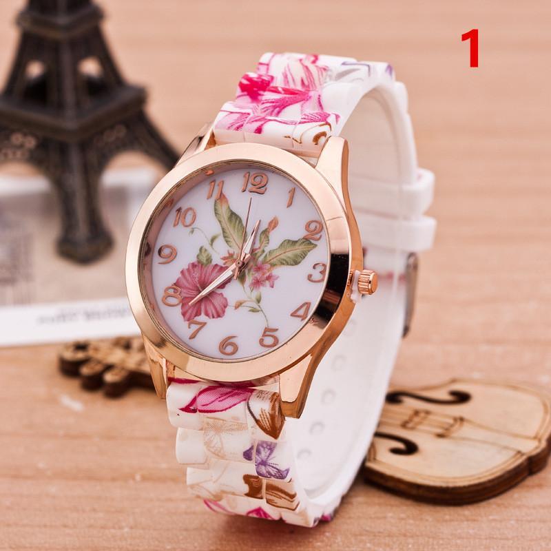 Moda Geneva Kobieta Zegarki Silikonowy Watch Kwiat dla Kobiet Różowy Złoty Blossom Kwarcowy Zegarek Mieszany Styl