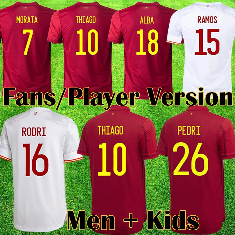 2021 Espana 축구 유니폼 Rodrigo Torres Pedri 스페인 팬 플레이어 버전 축구 셔츠 Morata Ramos Thiago Iniesta 키트 키트 España 장비 Camisetas de Futbol