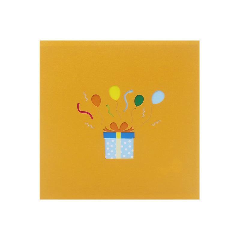 Tebrik Kartları C5AD Mutlu Doğum Günü Pastası Hediye Kutusu Balon Için 3D-Up Kart, Zarf Ile Bebek Duş