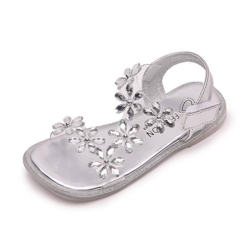 Sandalias Girls 2021 Flores de verano Rhinestone Sweet Soft Princess Little Big Kids Estudiante Niños Zapatos de playa de toed abierto