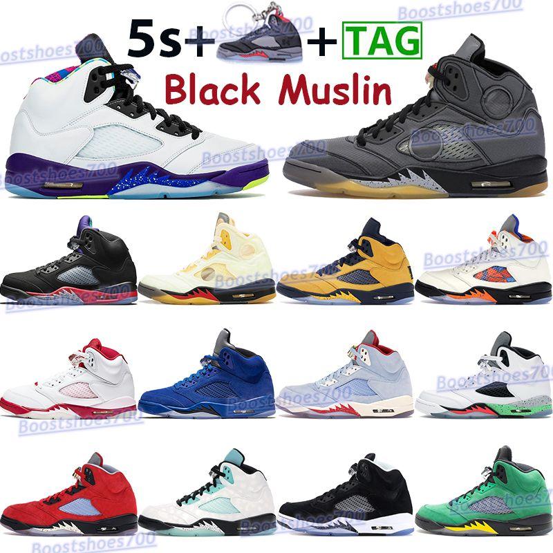 أسود Muslin 5 5s أحذية كرة السلة الرجال الرياضة أحذية رياضية ما أبيض X Sail Island أخضر عيد الفصح رمادي أعلى 3 أوريغون رجل المدربين مع سلسلة المفاتيح