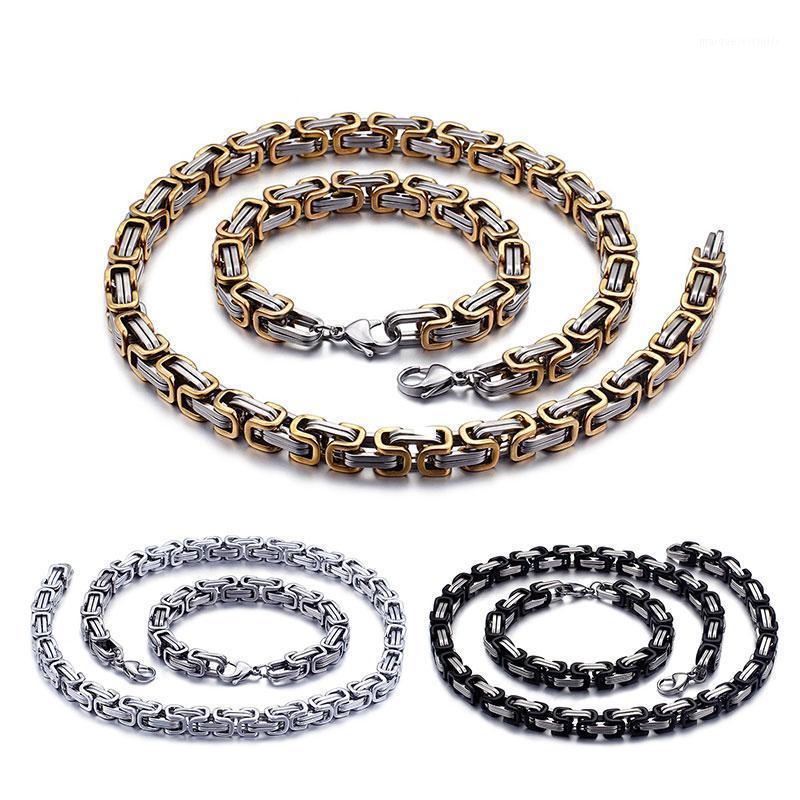 Hommes Femmes Bijoux Gold Argent Couleur en acier inoxydable 6mm / 8mm Largeur King Byzantin Bracelet Collier Ensemble cadeau en gros1