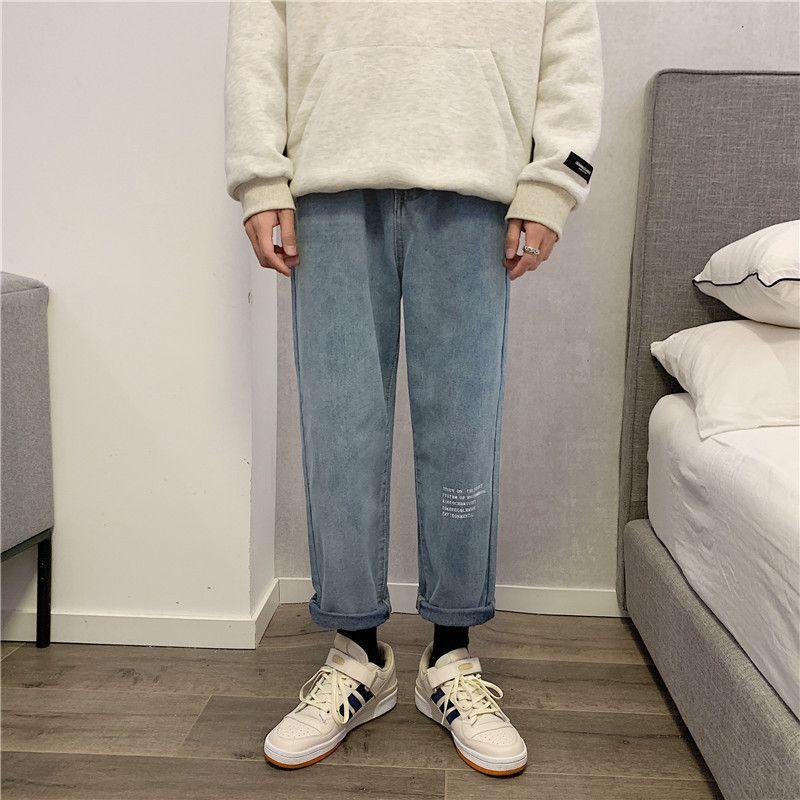 Primavera e autunno 2021 INS Fashion Brand Jeans Jeans Gamba Gamba da uomo Coreano Allentato Trend Students 'Versatile Pantaloni dritti