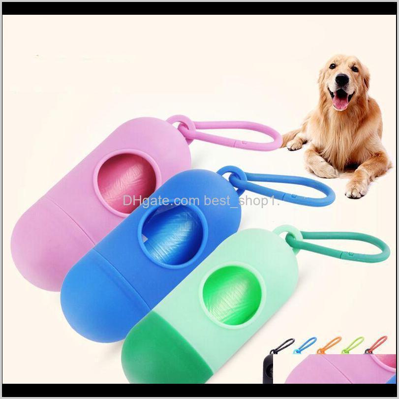 Pick-up de chien Sac à pertes Poop Sacs Distributeur de forme Pet Poop Sac de chiens Cat Portez des déchets à ordures Pick up Sacs de nettoyage avec 15 rouleaux sacs auvJ5 F5SLI