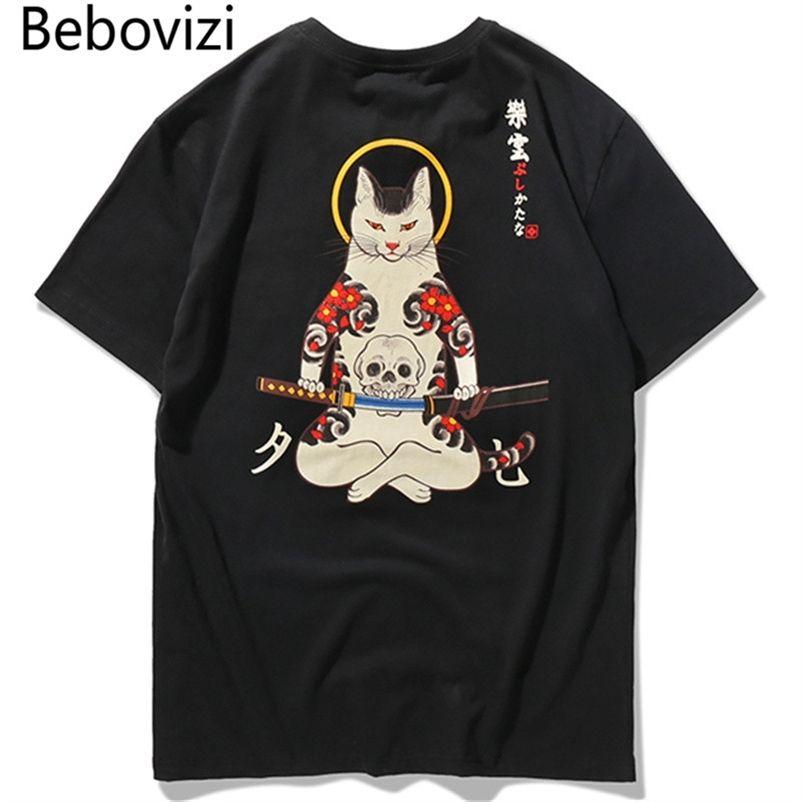 BEBOVIZI Marke Streetwear Japan Stil Ukiyo E lustige Samurai Katze Tshirts Herren Kurzarm T-shirts Hip Hop Stickerei T-Shirts 210319