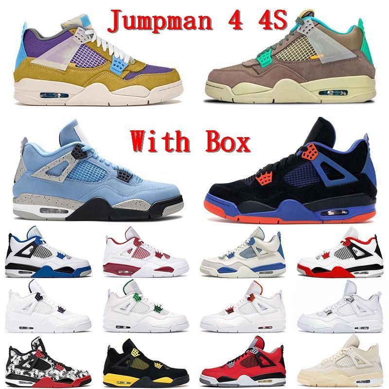 Airjordan4 الرجعية 4 ثانية jumpman الرجال النساء أحذية كرة السلة الجامعة الأزرق الشراع كاو ميتاليك الأسمنت الأرجواني البديل motorsport برات breds رجل الرياضة المدرب حذاء