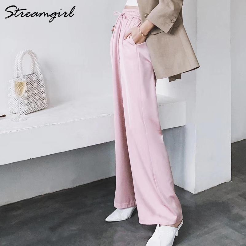 Streamgirl Sommer breite Beinhose für Frauen Hose Hohe Taille Satin Wide Hose Casual Rote Frauen Sommer Hosen Formale Frau 210319