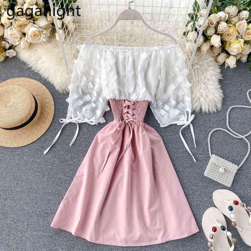 Сладкие женщины вечеринка платье лоскутное кружева леди твердые мини короткие праздничные платья шикарные летние аппликации цветок Vestidos 210426
