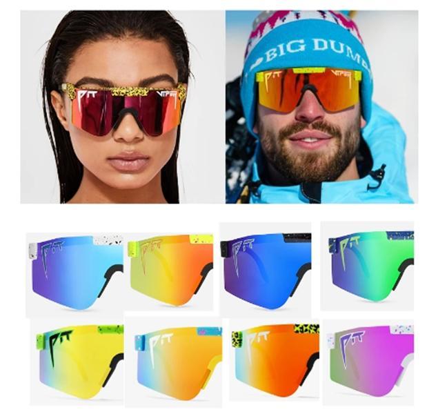 22 컬러 브랜드 장미 레드 핏 피트 바이퍼 선글라스 더블 넓은 편광 된 미러 렌즈 PC 프레임 UV400 보호
