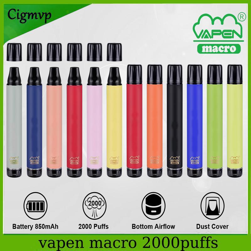 정통 vapen 매크로 일회용 전자 담배 2000 퍼프 디바이스 850mAh 수직 코일 하단 공기 흐름 기화기 미리 채워진 막대기 에어 바 최대 ezzy lux