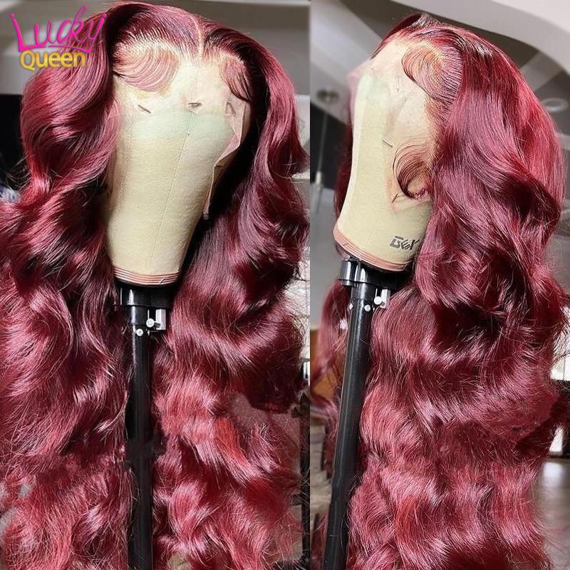 Parrucche di pizzo Malesian Wave Bodysian Wave Rosso Borgogna 99J capelli umani colorati pre-strappato frontale per le donne
