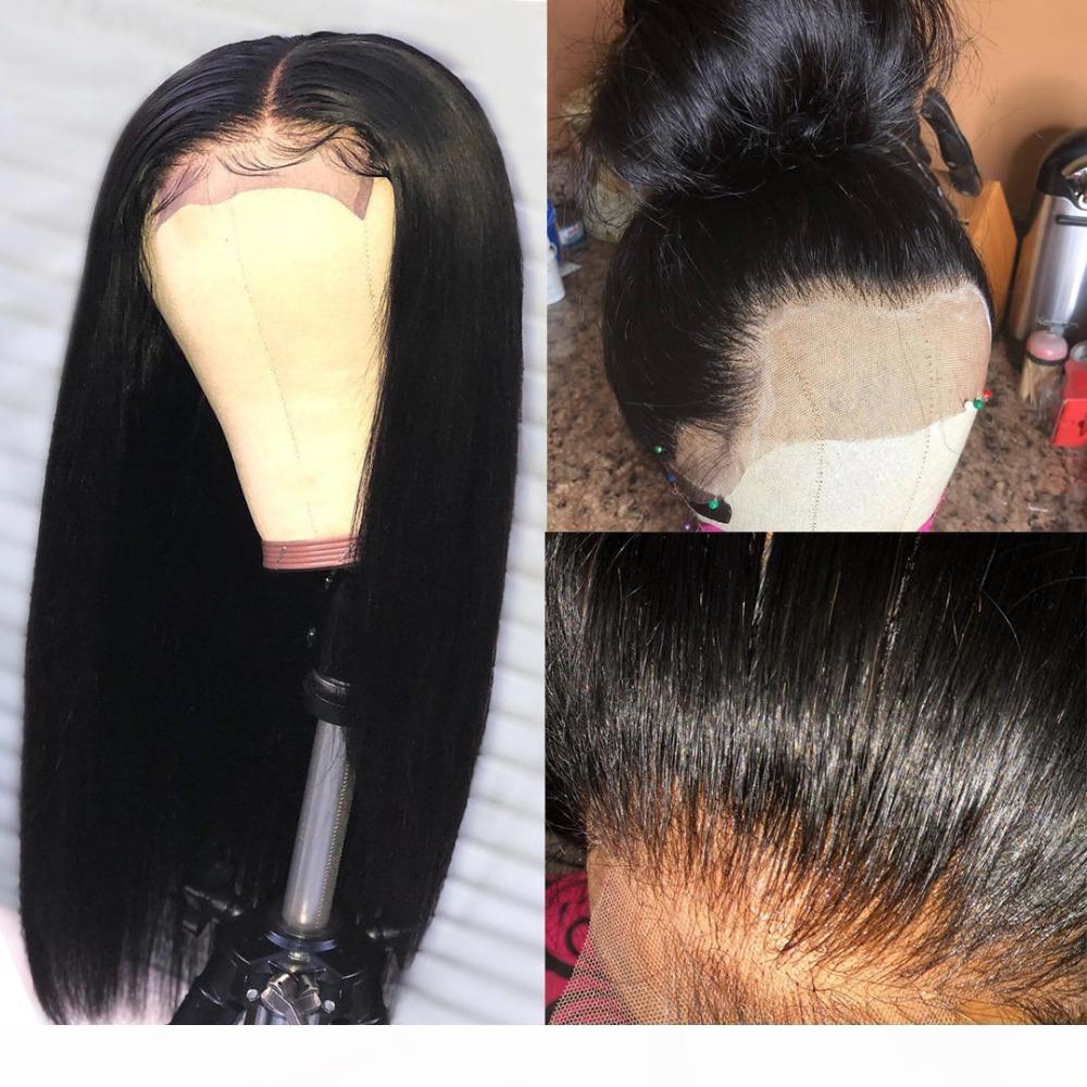 Cordón frontal peluca de pelo brasileña 13x4 frontal sedoso recto con cabello bebé cabello natural cabello blanqueado nudo parte profunda encaje completo pelucas rectas