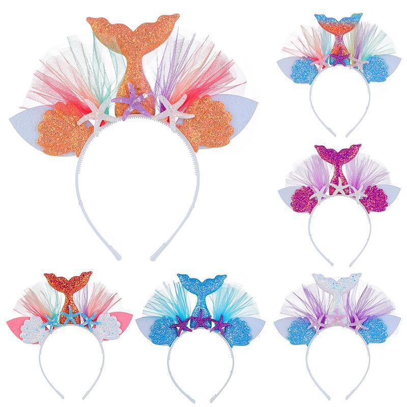 10ピースレインボーマーメイドヘアバンドスティック7色プリンセスメッシュフラワー動物のヘアバンドヘアアクセサリー