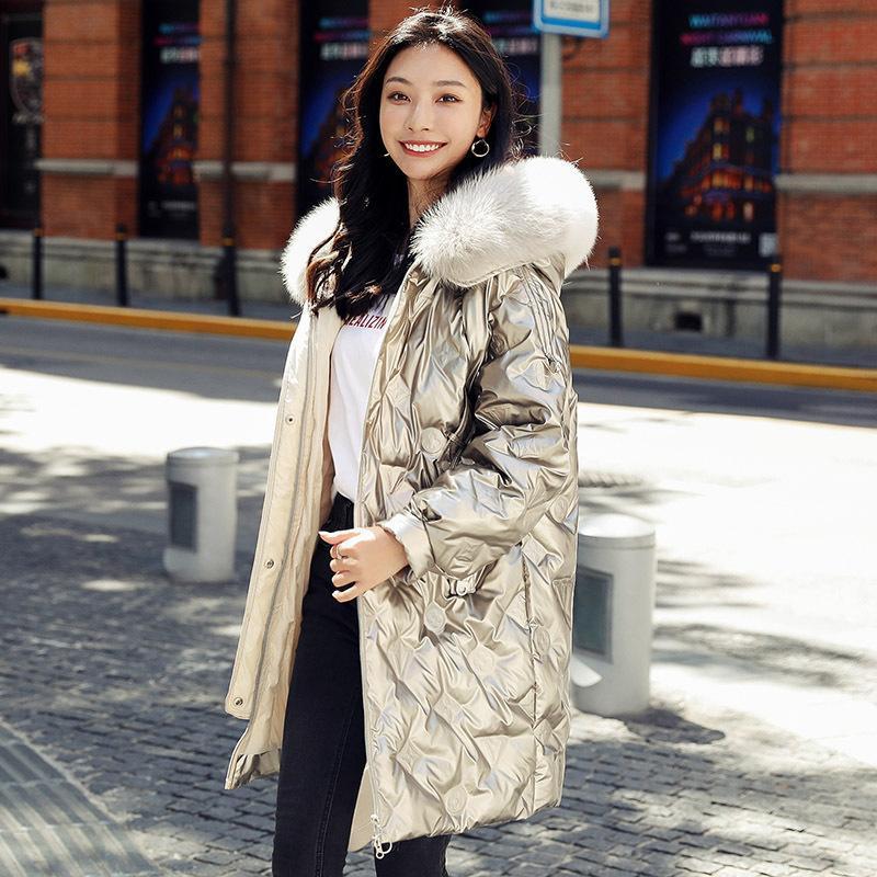 큰 모피 칼라 자켓 가을 따뜻한 두꺼운 패션 겨울 코트 여성 두건을 만든 광택 긴 파카 재킷 여성 여성의 아래로