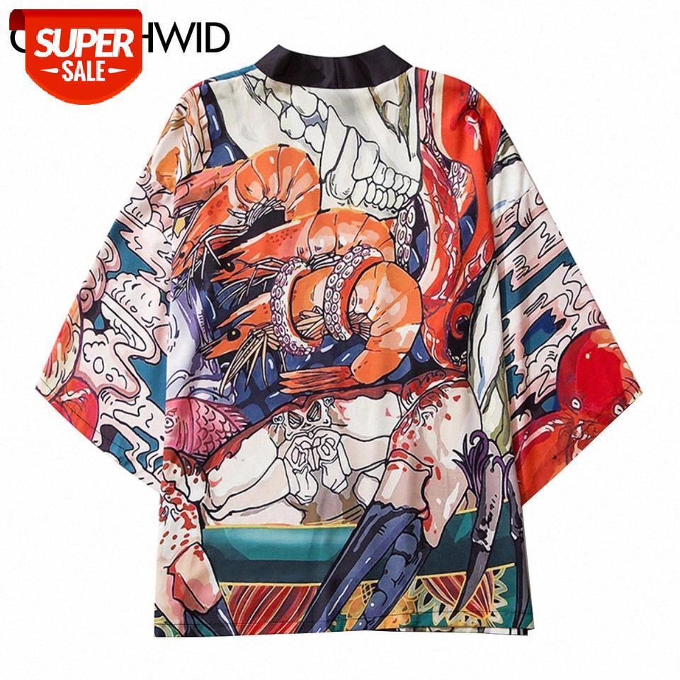 Camisetas de kimono japonés Cardigan Casual Hip Hop Streetwear Cangrejo Cangrejo Camarón Impresión Chaquetas Abrigos Harajuku Moda Floor Tops # JV1S