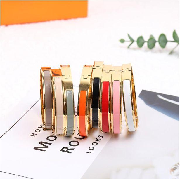 Braceletes de moda esmalte colorido elegante mulher pulseira para homem womens jóias pulseira jóias 8 cor opção