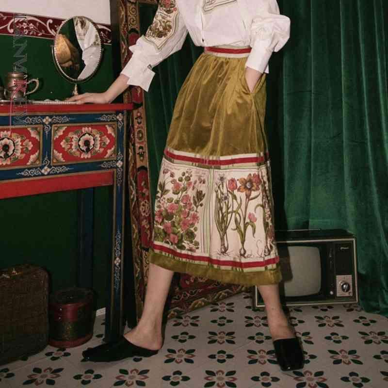 Ланмрем Осенняя Одежда для женщин Ретро Печать Бархат Высокая Талия Полувядно Юбка с карманами Casul All-Match YH072 210326
