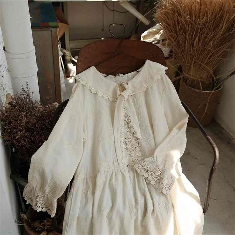 Lamtrip outono algodão bordado gravata peter pan colarinho mid-borda lolita gancho vestido mori fêmea 210326