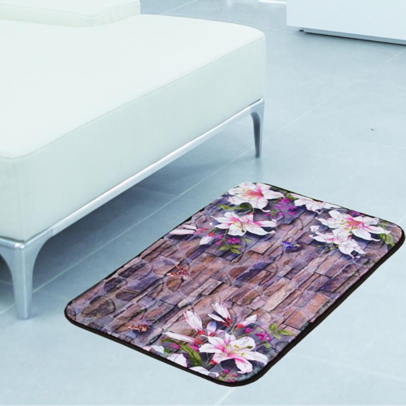 Morbido modello 3D Bathmat antiscivolo da bagno tappeti tappeti tappeti da bagno tappeto da bagno tappeto assorbente acqua (piastrelle di fiori pebble) tappetini