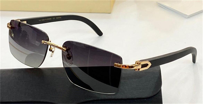 Design di moda Sunglasses 8200760 Templi di legno struttura frameless lente di legno classico stile semplice di alta qualità Occhiali protettivi UV400