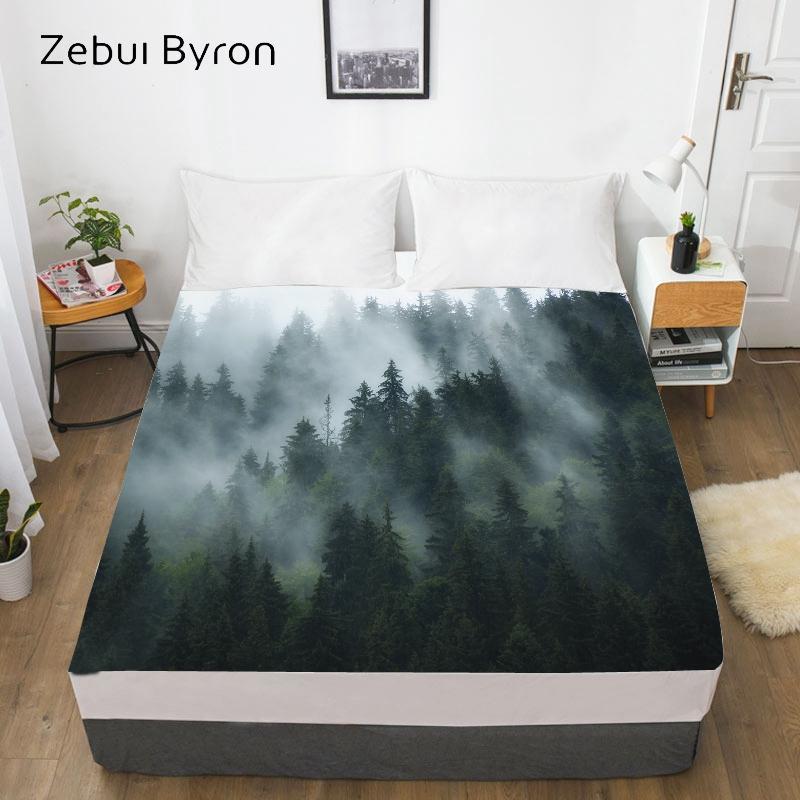 Folha de cama feita sob encomenda da impressão digital com elástico, 180/150 / 160x200 Queen-rainha / rei, colchões de colchão Folhas da floresta