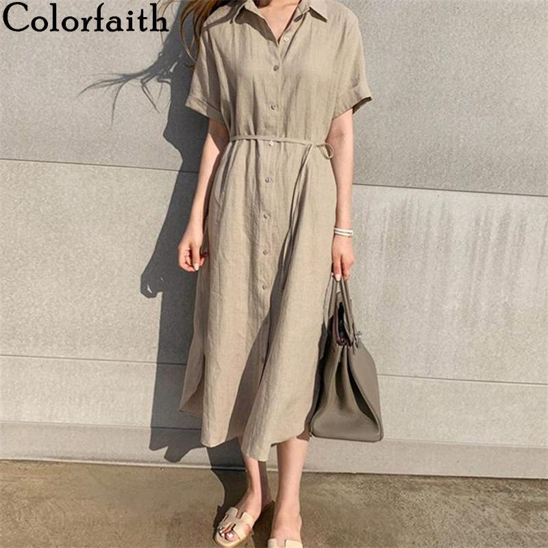 Colorfaith NUEVO 2021 Mujeres de verano vestido de camisa casual 3 colores sueltos de moda con cordón de encaje de algodón y lino largo vestido 210319