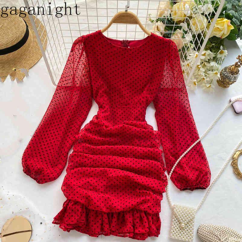 O Шеи слойки длинные рукава платье женщины высокая талия хип-точка печатает оборками Vestido темперамент Plify Design Party ROPA 210426