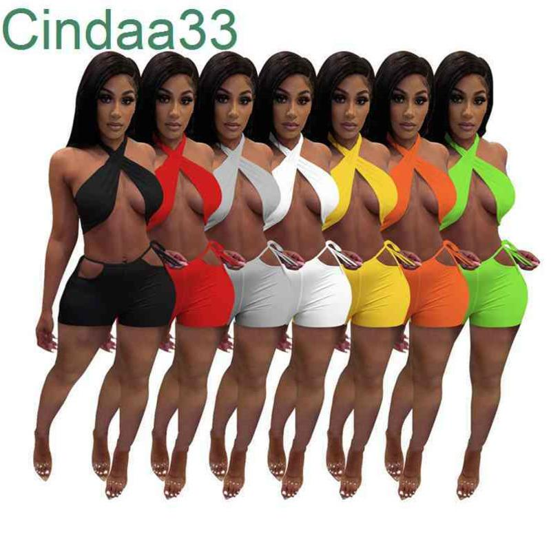 Women Hot Clothes 2021 New Fashion Sexy Two Piece Set Shorts Summer Casual Suits Solid Colour Slim Sleeveless Shorts Tracksuit