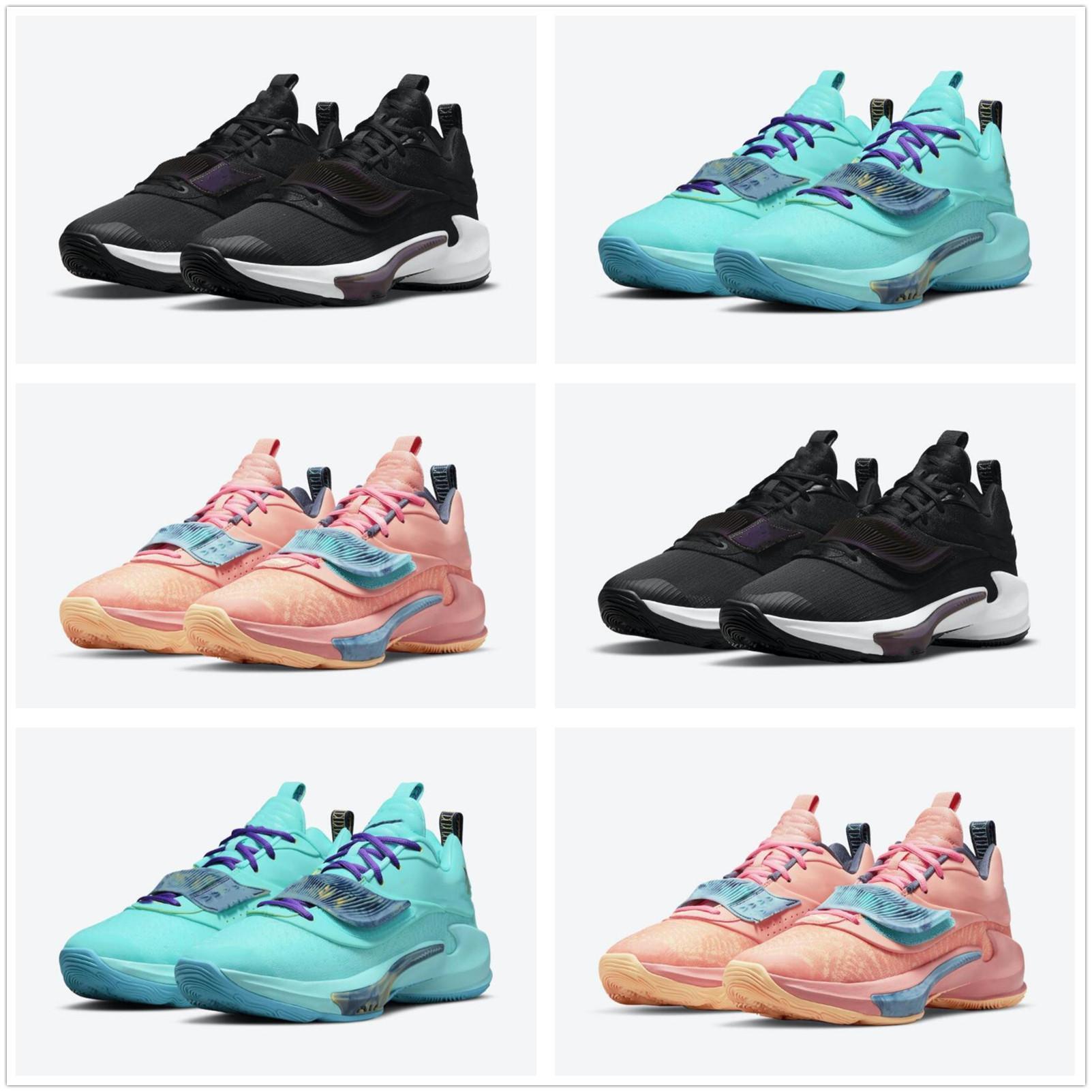 Zoom GA Yunan Freak 3 Canlı Bir Aqua Erkekler Basketbol Ayakkabıları Görünüyor Turuncu Siyah Spor Ayakkabı Sneakers Boyutu US7-US12