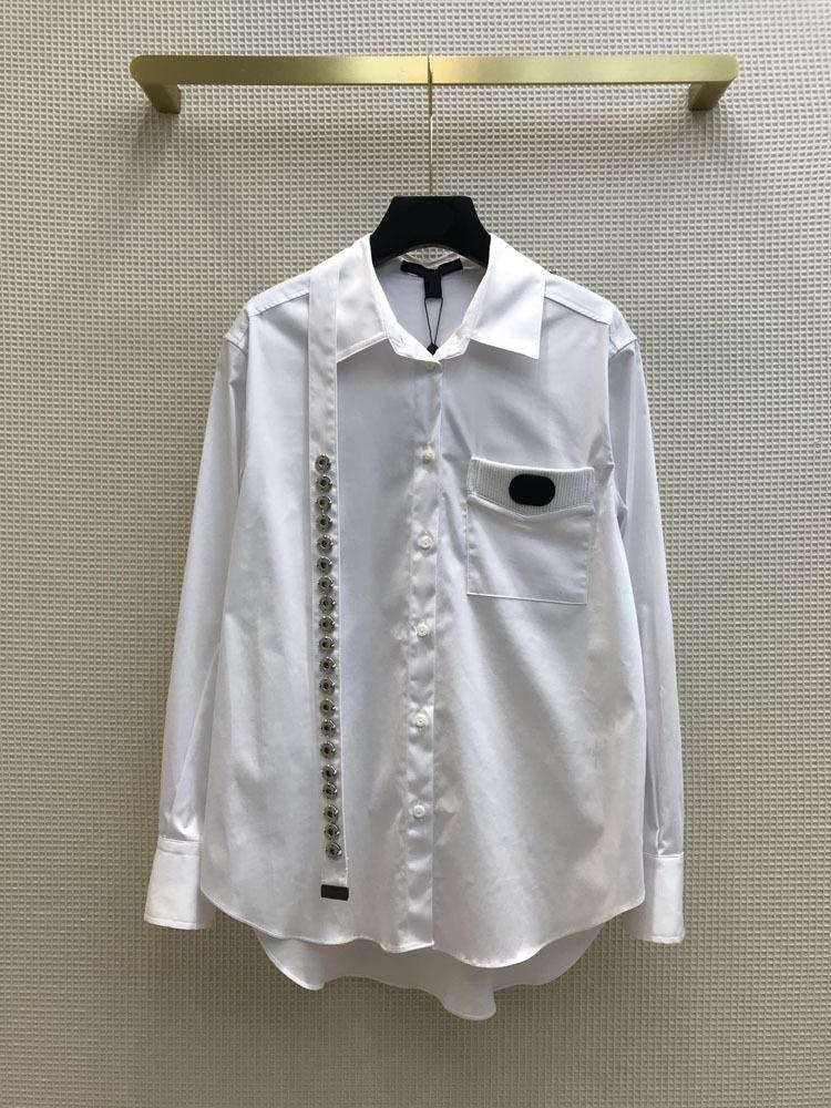 Milan Pist Gömlek 2021 Uzun Kollu Panelli Yaka Yaka Tasarımcısı Bluzlar Marka Aynı Stil Kadın 0317-9