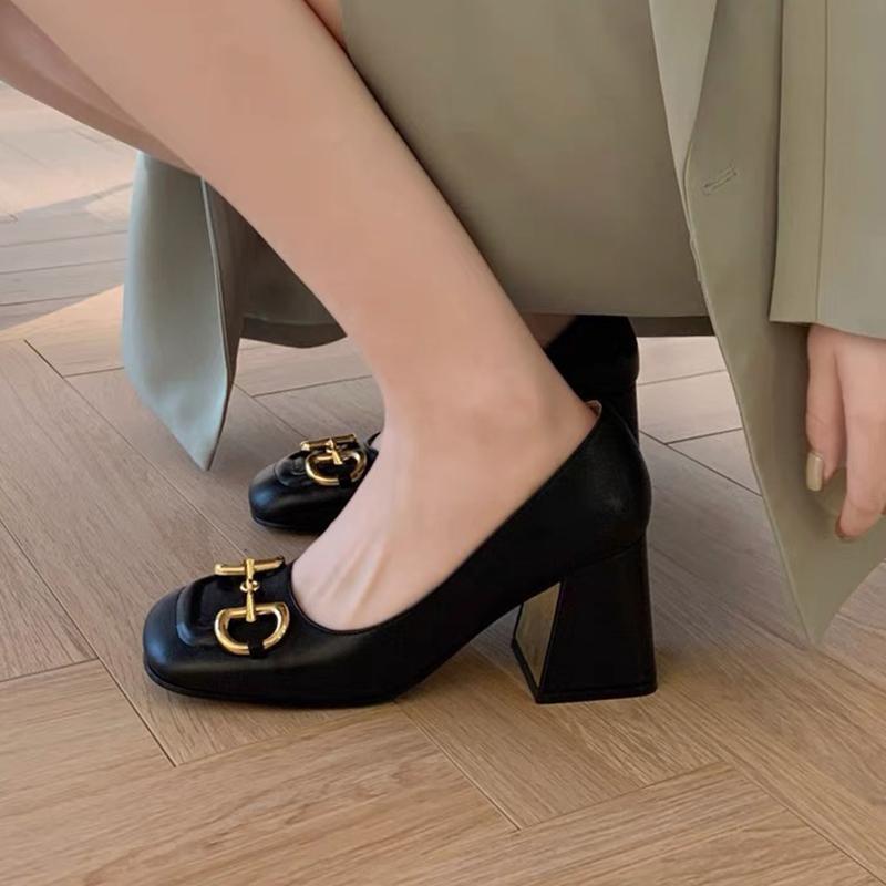 Pompa a tacco medio da donna con designer di cavallo Mulos scarpe 75mm vintage tacchi alti tacchi alti estate sandali sexy us11 avendo scatola NO273