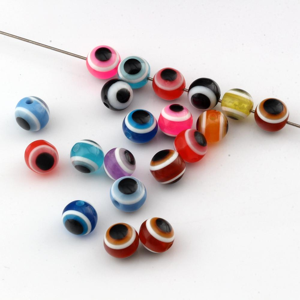 1000Pcs Multicolor Resin Evil Eye Ball Round Spacer Beads For Jewelry Making Bracelet Necklace DIY Accessories