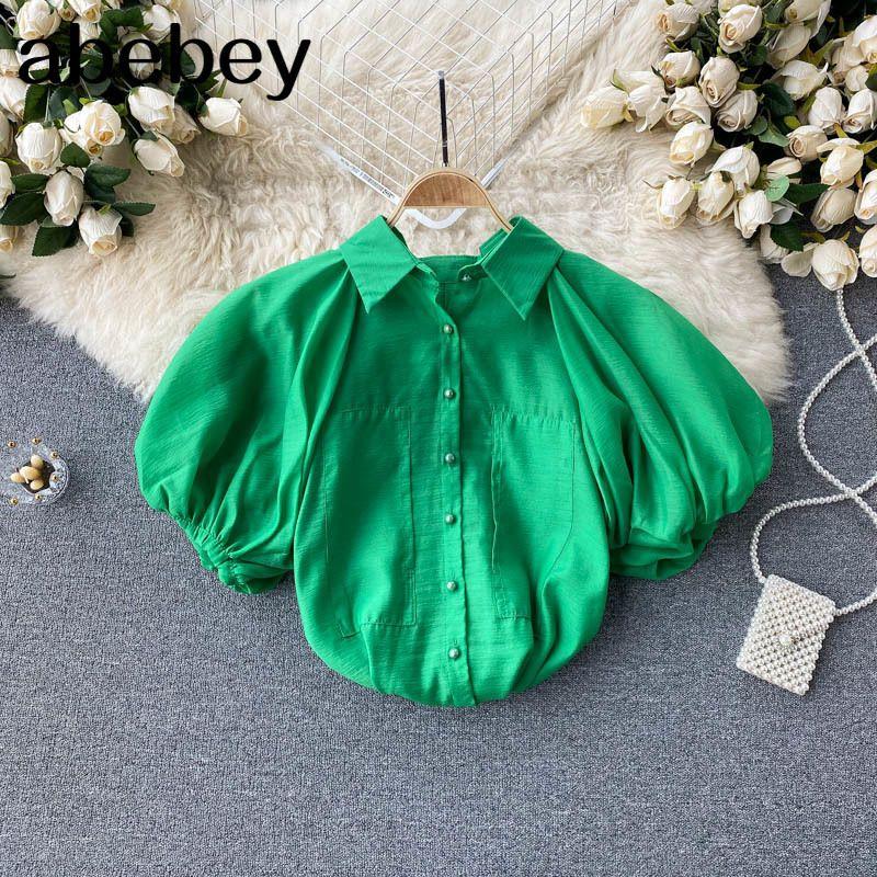 Frauen Design Bluse Süße Kurzarm Down Collar Solid Casual Tops Sommer Mode Streetwear Blusen 210512