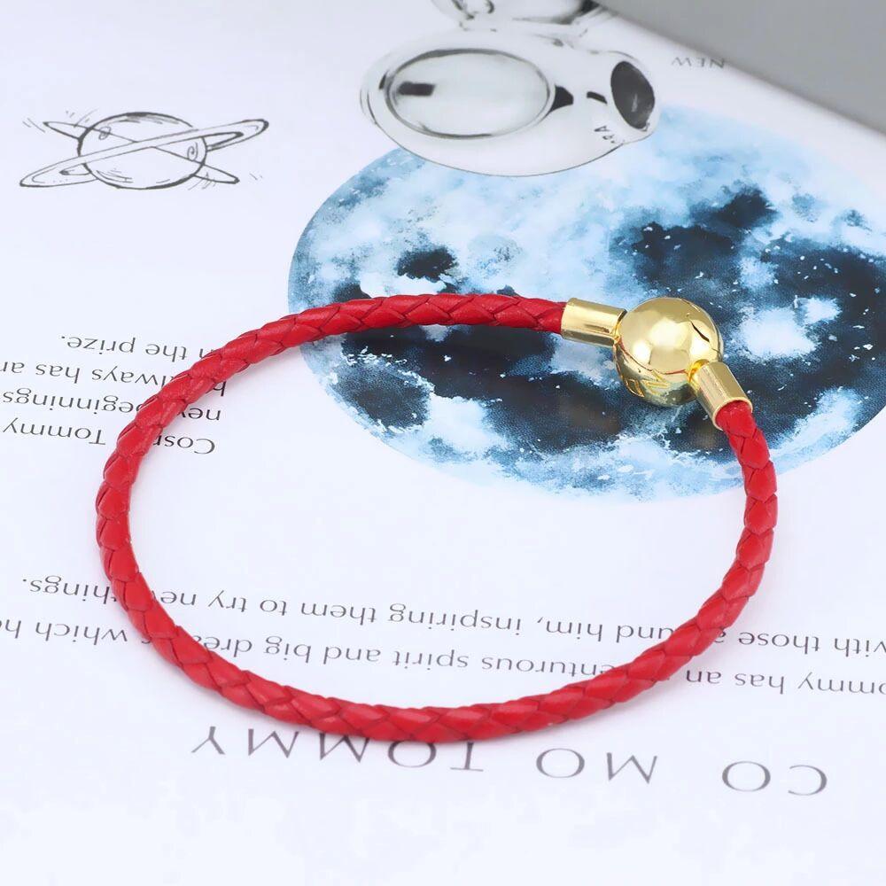 Rote 925 Sterling Silber Echte Leder Armband Set Original Box Für Pandora Rose Gold Verschluss Charm Armreif Frauen Geschenk Schmuck