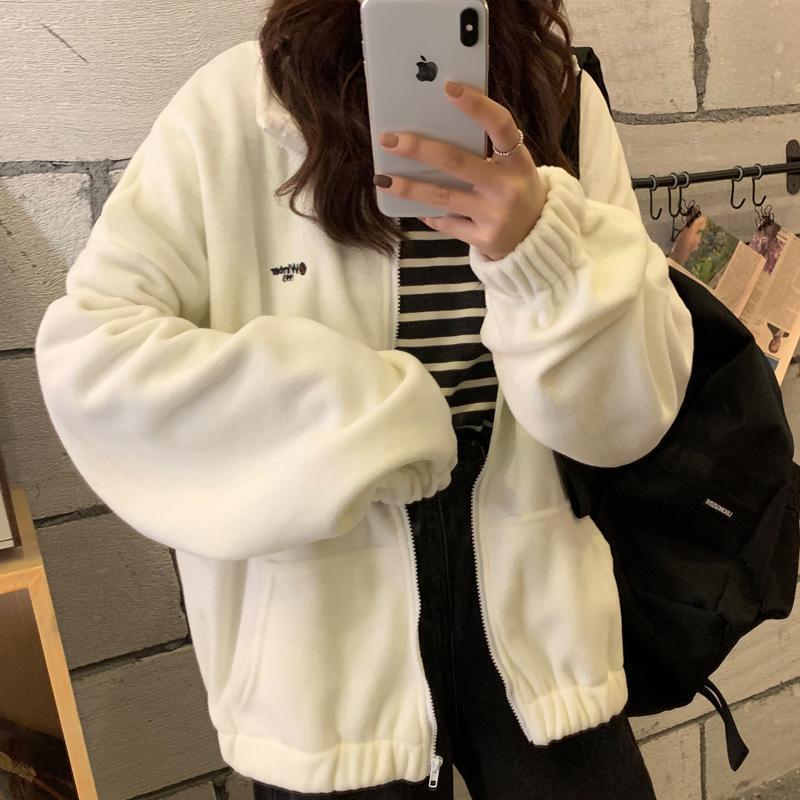 Hoodies das mulheres moletom com capuz zip-up mulheres solta mais veludo moletom bolsos letra casual harajuku streetwear mulheres para