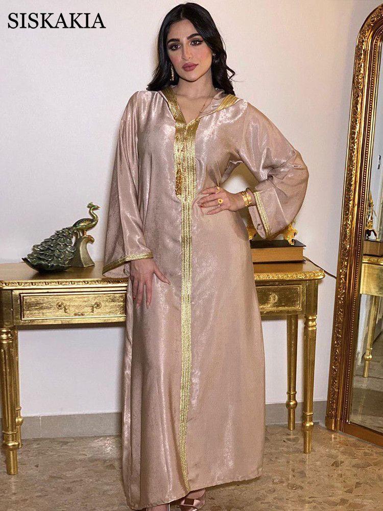 Siskakia Dubai Arap Müslüman Kadın Giyim, Kaftan Hoodie Fas, Türkiye'de İslam Bornoz, Jalabiya, Sonbahar 2020