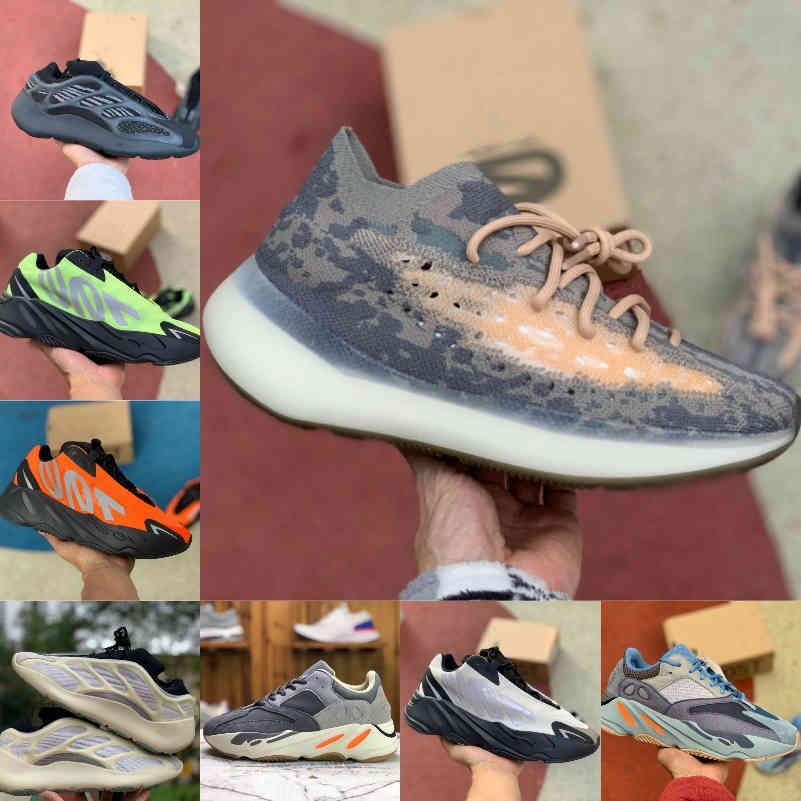 2021 Kanye 700 V2 V3 Erkek Sneakers Koşu Ayakkabıları Azael Alvah Geode 380 Runner Utility Siyah Dalga Mnvn Turuncu Kemik Bayan Spor Moda