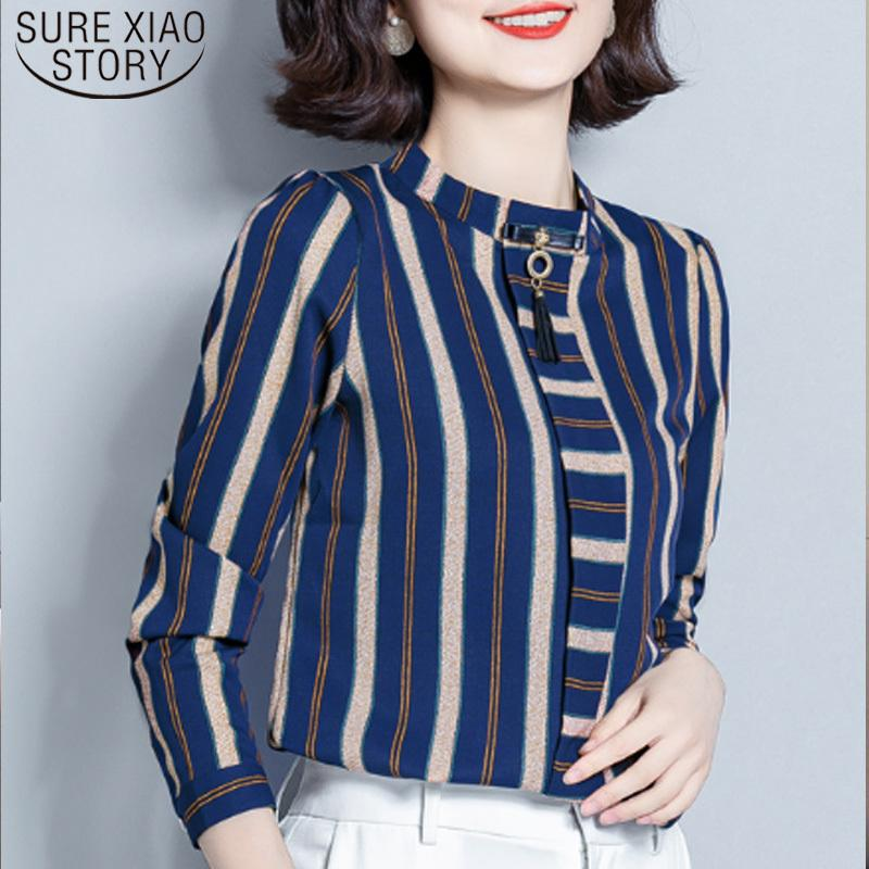 Casual Gestreifte Frauen Tops und Bluse Koreanische Mode Kleidung Vintage Stand Langarm Blusas Mujer de Moda 7071 50 210512