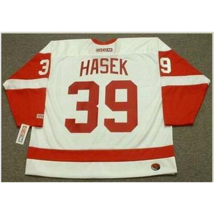 Özel Bay # 39 Dominik Hasek Detroit Kırmızı Kanatlar 2002 CCM TK Home Hokey Forması veya Özel Herhangi bir isim veya numara Retro Jersey