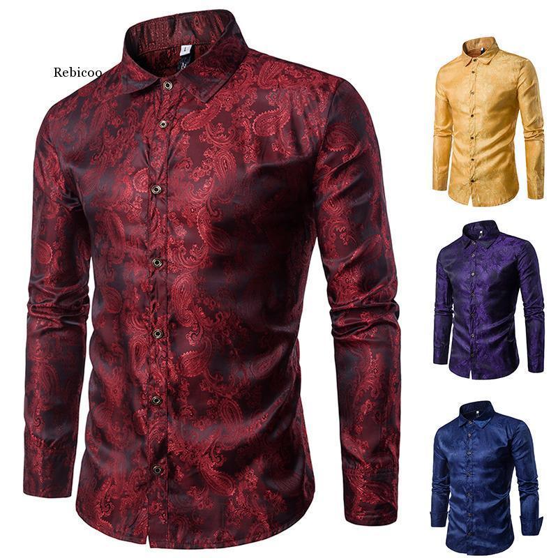 연회 웨딩 셔츠 파티 바 나이트 클럽 남성 밝은 긴 Tpaisley 소매 남성 캐주얼 셔츠