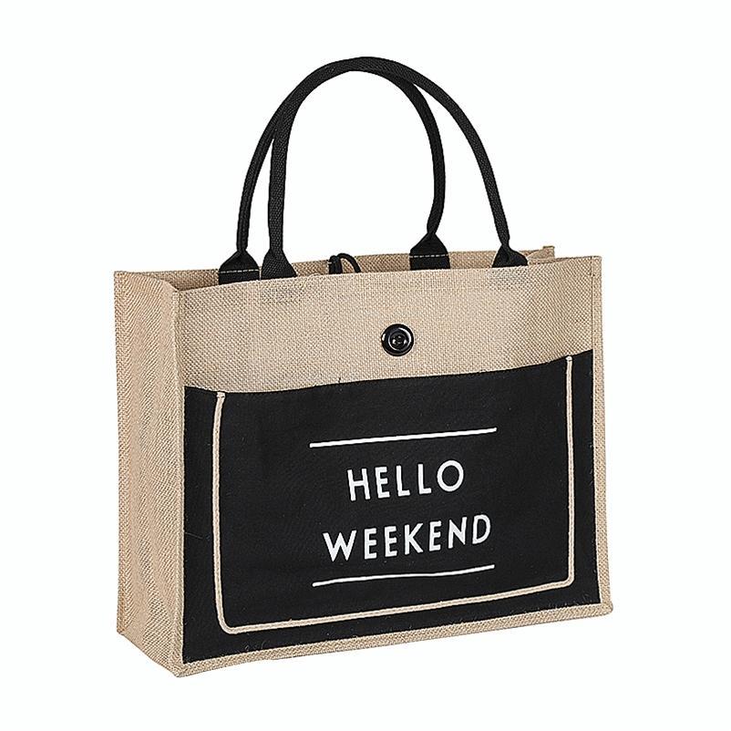 3 farbe europäischen stil weiblich hallo wochenende jute baumwolle handtaschen frauen große größe strandsack für mädchen druck umhängetaschen 210326
