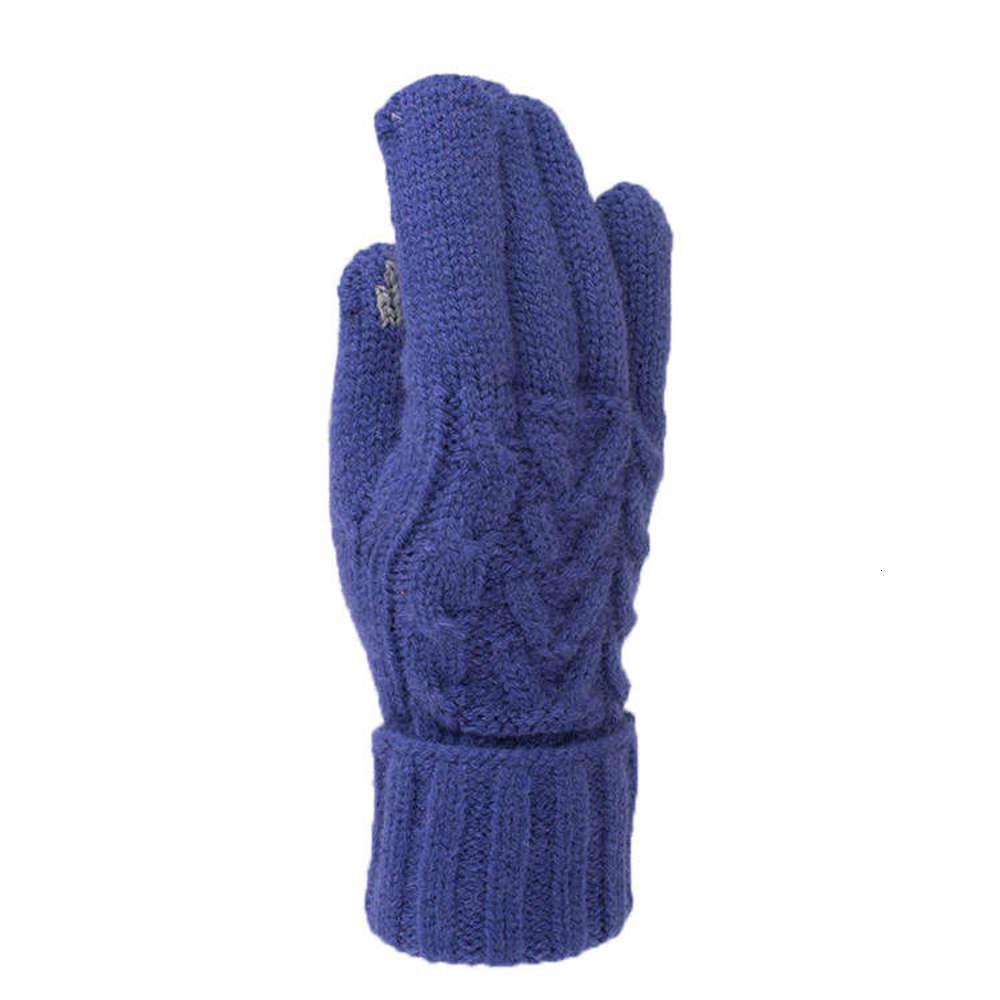 Gants d'écran tactile en cachemire d'hiver chaleureux jacquard en peluche épaissie fendue doigt tricoter laine