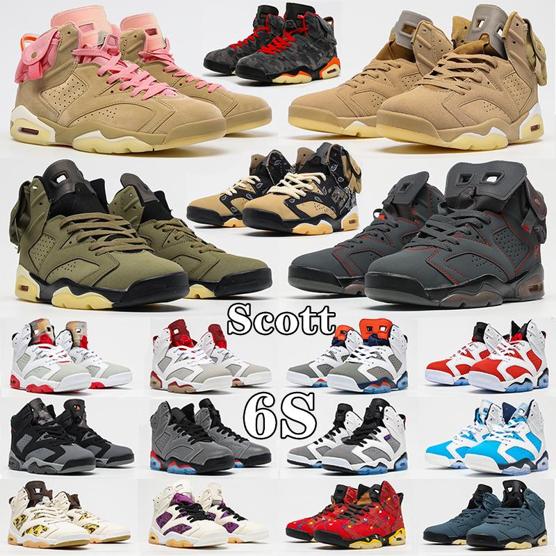 Travis British Khaki 6s Basketball Shoes Jumpman high UNC 6 Gold Hoops Carmine Infrared Midnight Navy Hare Tech Chrome Electric Green Mens Scott Trainers Sneakers